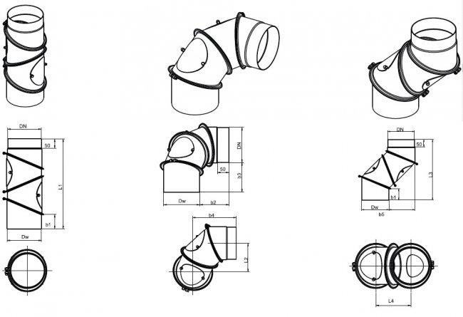 4 segmentų lanksti alkūnė KNSR/UNI su 2 pravalomis