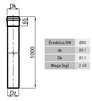 Dūmtraukis RP80 1000 mm ilgio