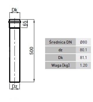 Dūmtraukis RP80 500 mm ilgio