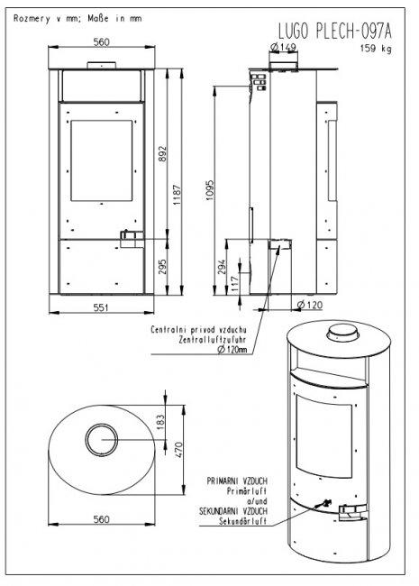 Romotop LUGO (žema) su plieno apdaila ir akumuliacija